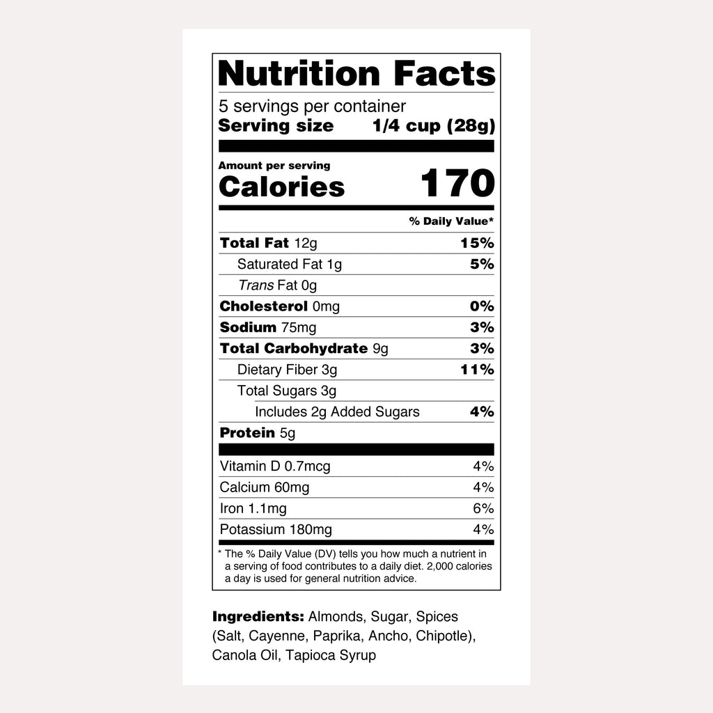 Santé Nuts | Chipotle Almonds | Nutrition Facts