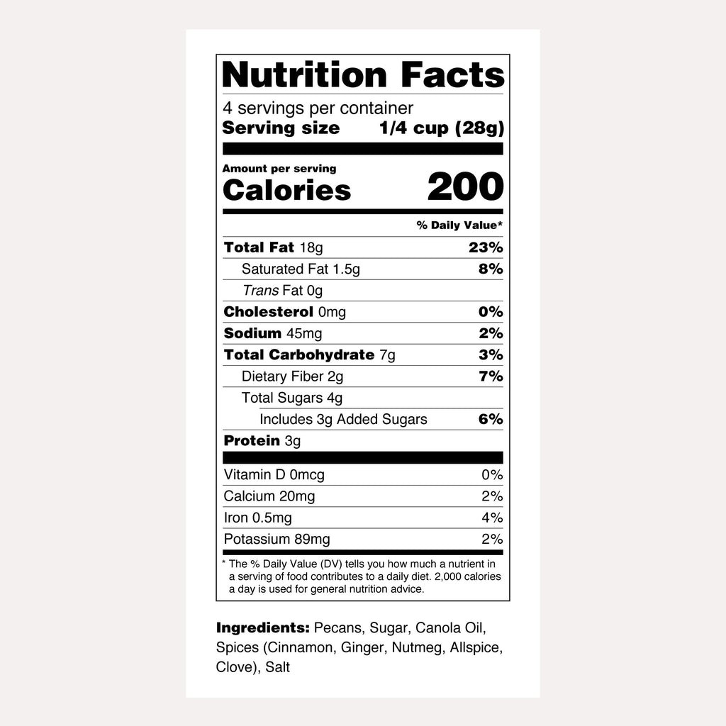 Santé Nuts | Pumpkin Spice Pecans | Nutrition Facts