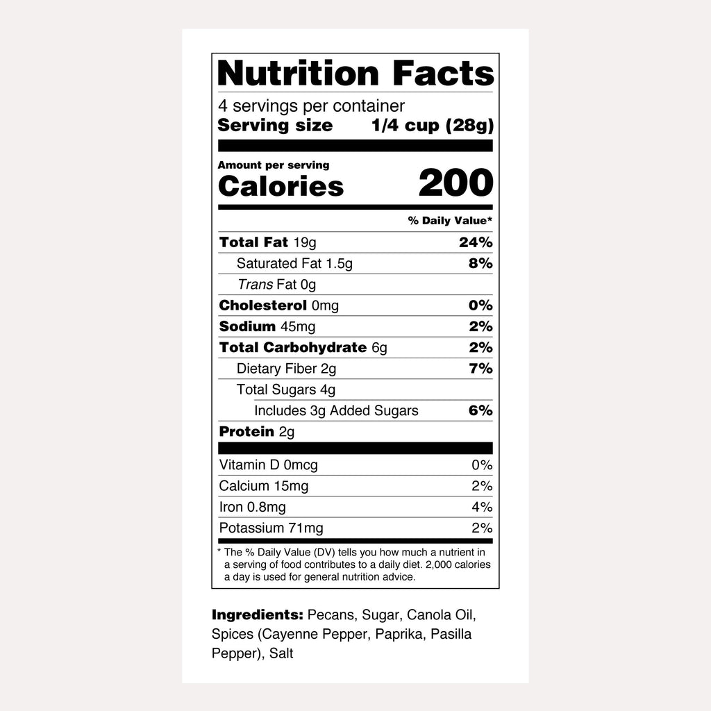 Santé Nuts | Sweet Spicy Pecans | Nutrition Facts