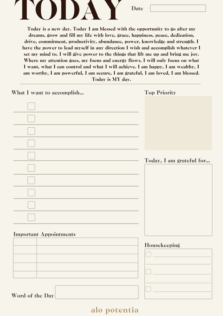Daily Best Self Planner