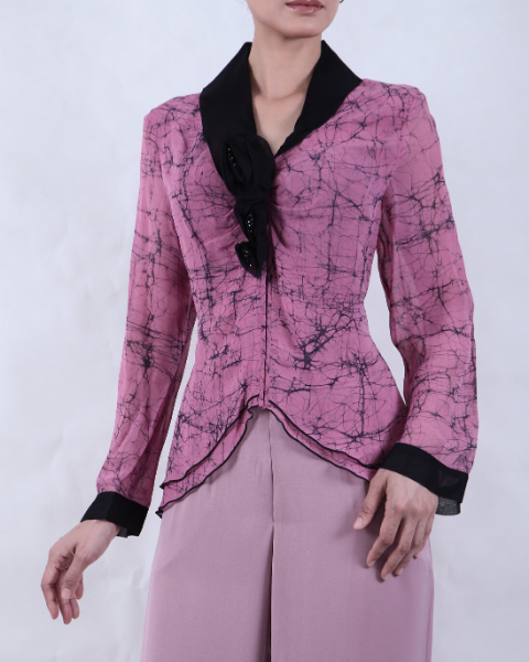 Long Sleeve Hand Wax Crackled/Dyed Pink Batik BLOUSE