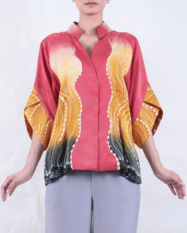 Batek SHORT JACKET with Tsunami Motif