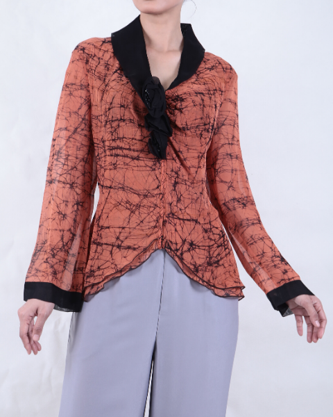 Long Sleeve Hand Wax Crackled/Dyed Orange Batik BLOUSE