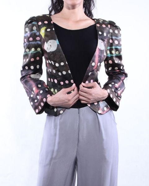 Black Abstract Batik Short Jacket