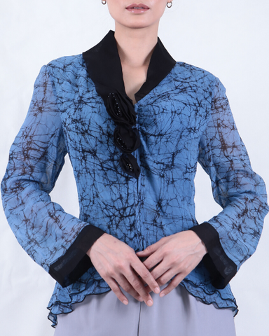 Long Sleeve Hand Wax Cracked/Dyed Sapphire Blue Batik BLOUSE