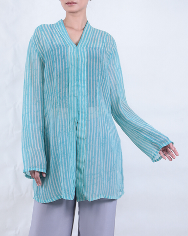 Batik KEBAYA in Stripes Turquoise Blue & White