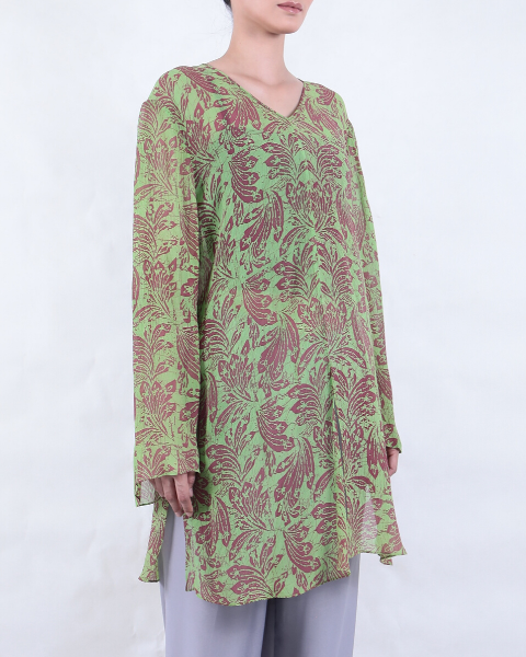 Batik BLOUSE Long Sleeve with Leaf Motif