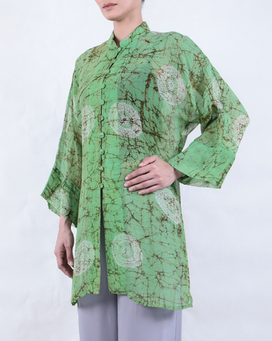 Light Green Batik MANDARIN COLLAR with Heart Motifs