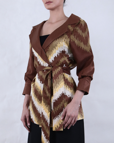 Long Sleeve Batik JACKET in Shades of Brown, Yellow and White