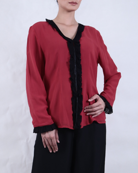 Red with Black Trim Hand Dyed KEBAYA