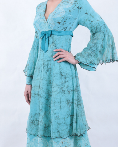Batik Turquoise V Neck DRESS
