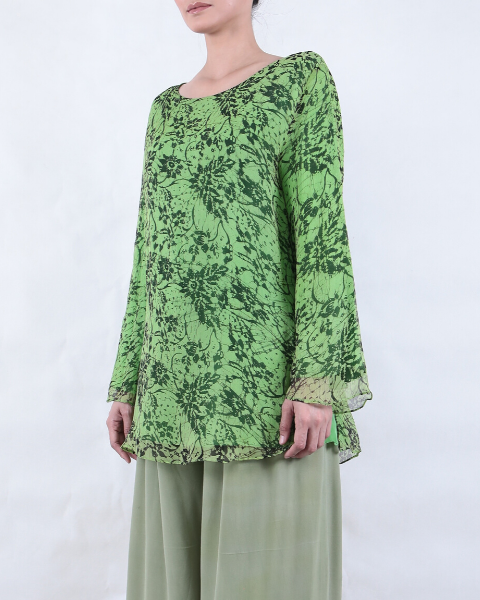Apple Green Batik BLOUSE Long Sleeve with Melati Motif
