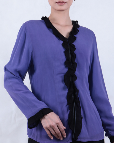 Purple with Black Trim Hand Dyed KEBAYA
