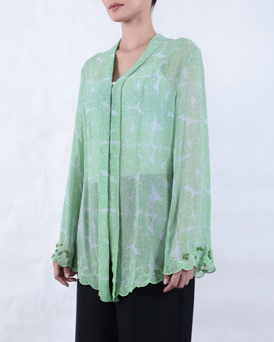 Peppermint Green Batik KEBAYA with Feather Motif