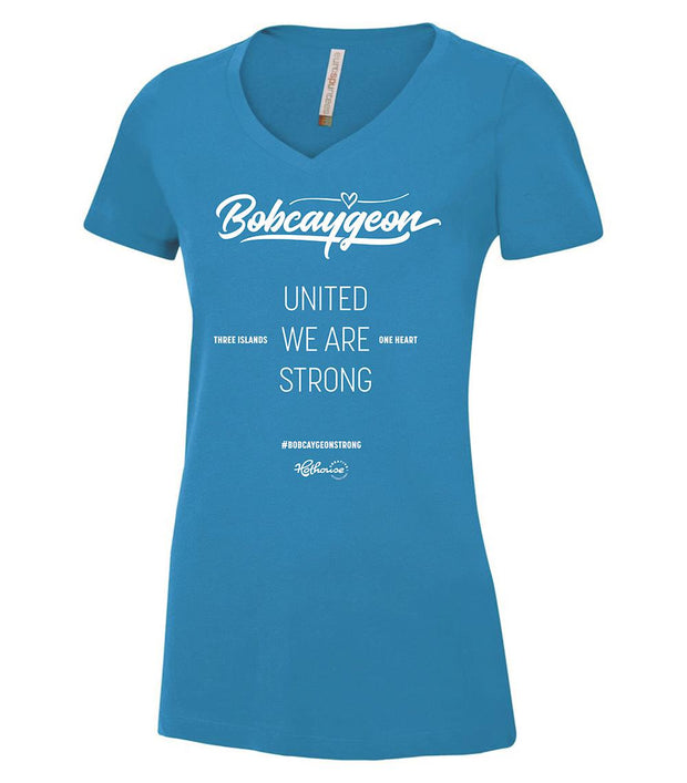 BOBCAYGEON STRONG V-NECK SHIRT BLUE