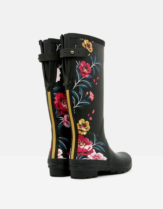 JOULES- WOMENS PRINTED WELLIES WITH BACK GUSSET