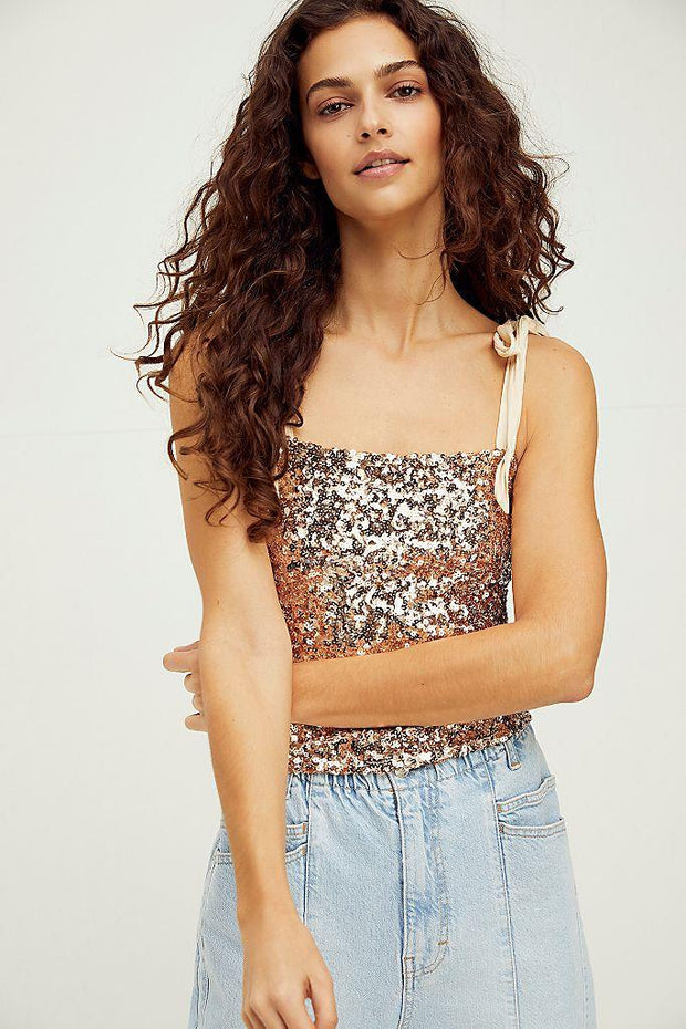 FREE PEOPLE- Hey Girl Sequin Cami