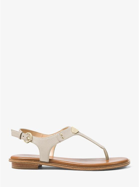 MICHAEL KORS- LOGO PLAQUE LEATHER SANDAL SAND SIDE