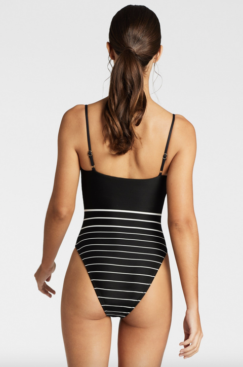 Vitamin A- Jenna Body Suit Black Stripe Back