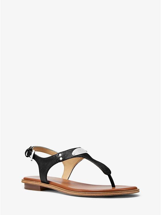 MICHAEL KORS- LOGO PLAQUE LEATHER SANDAL BLACK