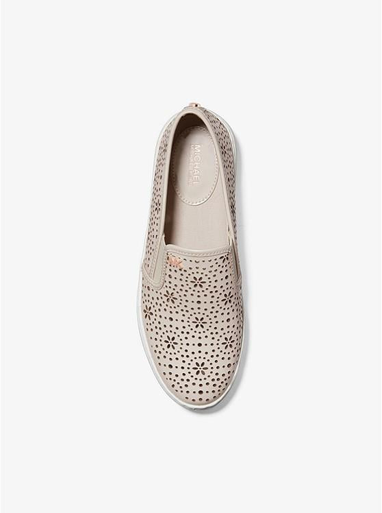MICHAEL KORS- KANE PERFORATED LEATHER SLIP-ON SNEAKER TOP
