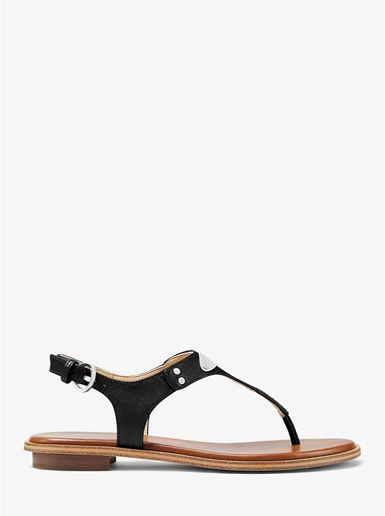 MICHAEL KORS- LOGO PLAQUE LEATHER SANDAL BLACK SIDE