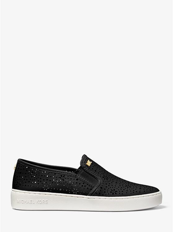 MICHAEL KORS- KANE PERFORATED LEATHER SLIP-ON SNEAKER BLK SIDE