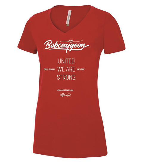 BOBCAYGEON STRONG V-NECK SHIRT RED