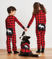 HATLEY- Moose On Plaid Kids Union Suit