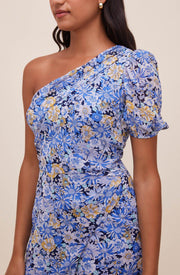 ASTR SANTORINI FLORAL ONE SHOULDER DRESS