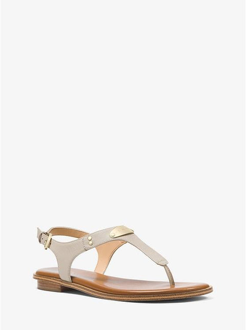 MICHAEL KORS- LOGO PLAQUE LEATHER SANDAL SAND
