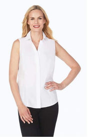 FOXCROFT TAYLOR STRETCH NON-IRON SLEEVLESS SHIRT WHITE