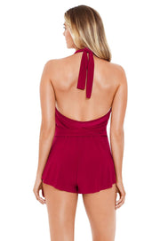 MAGICSUIT SOLIDS BIANCA ONE-PIECE JUMPER BURGUNDY BACK