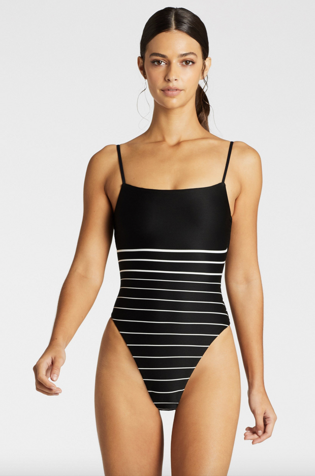 Vitamin A- Jenna Body Suit Black Stripe