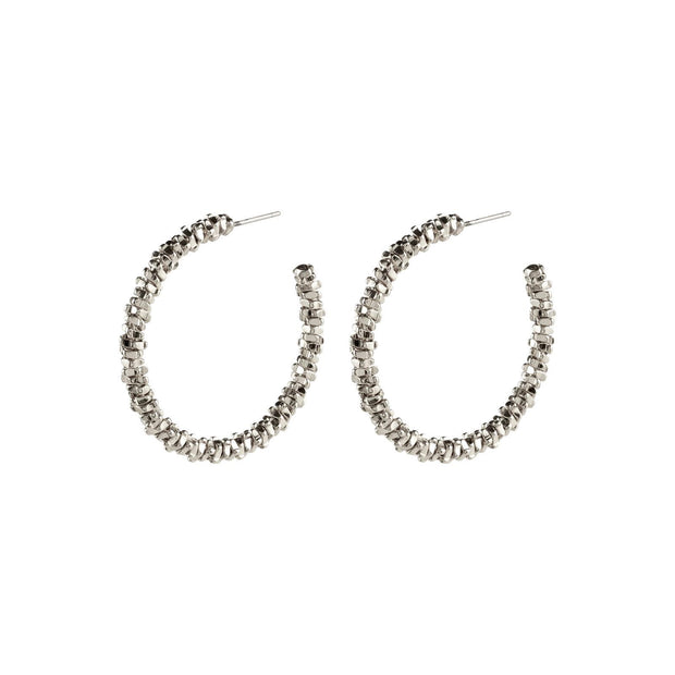 PILGRIM NOA EARRINGS SILVER 3.25