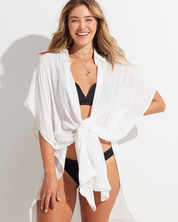 L*SPACE ANITA COVER UP WHITE FRONT TIE UP