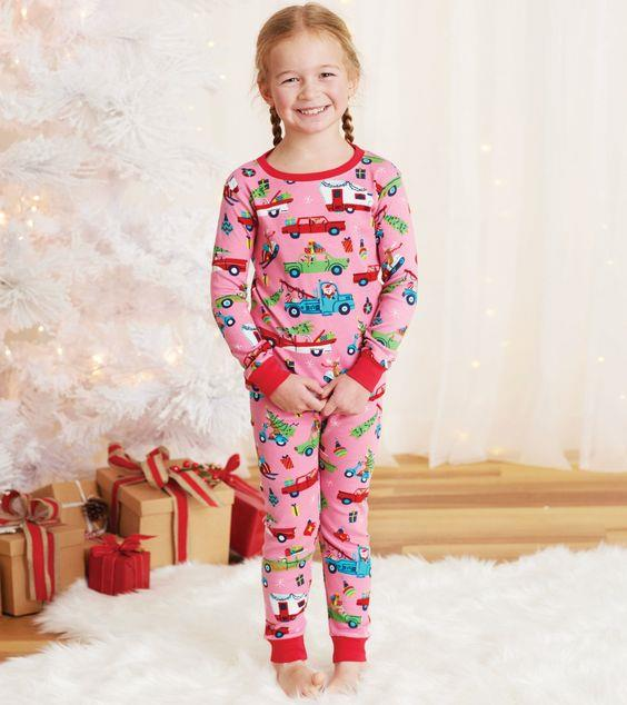 HATLEY- Pink Retro Christmas Kids Pajama Set