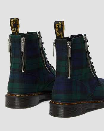 DR. MARTENS- 1460 ZIP TARTAN LACE UP BOOTS