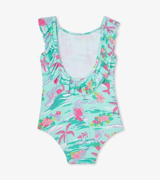 HATLEY- Tropical Mermaid Ruffle Sleeve Swimsuit