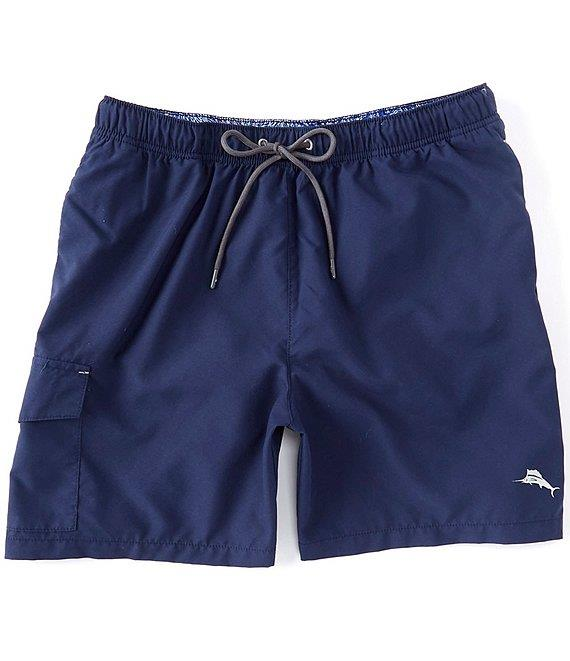 "TOMMY BAHAMA Naples Coast Solid 6"" Inseam Swim Trunks NAVY"