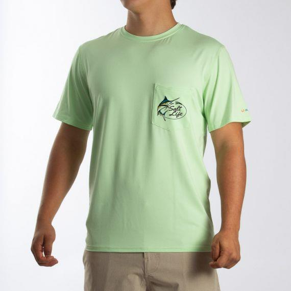 SALT LIFE Salty Marlin Lure Short Sleeve Performance Pocket Fishing T