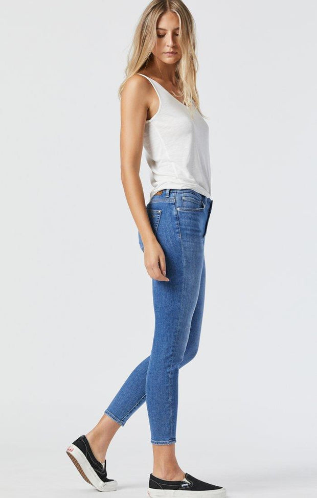+++++++MAVI TESS JEANS IN MID RIPPED FEATHER BLUE