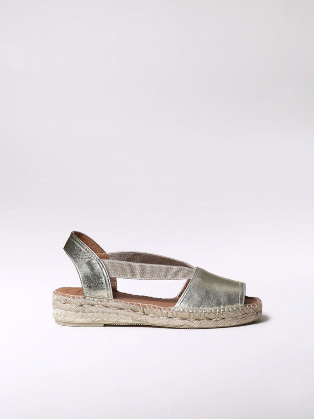 TONI PONS- ETNA FLAT LEATHER ESPADRILLE STEEL