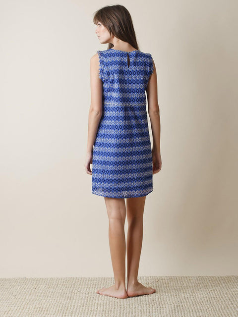 INDI & COLD SWISS EMBROIDERY DRESS BACK BLUE