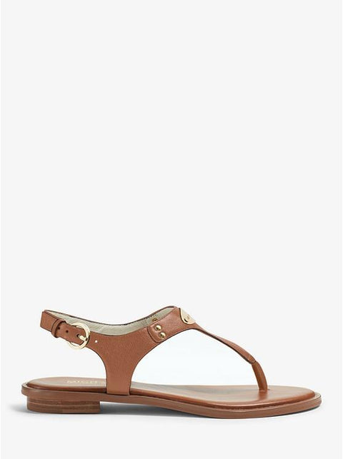 MICHAEL KORS- LOGO PLAQUE LEATHER SANDAL SIDE