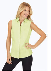 FOXCROFT TAYLOR STRETCH NON-IRON SLEEVLESS SHIRT LIME