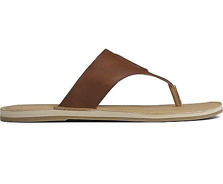 SPERRY- WOMEN`S SEAPORT LEATHER THONG SANDAL SIDE