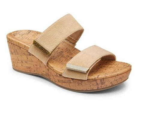 VIONIC PEPPER WEDGE SANDAL BEIGE SIDE