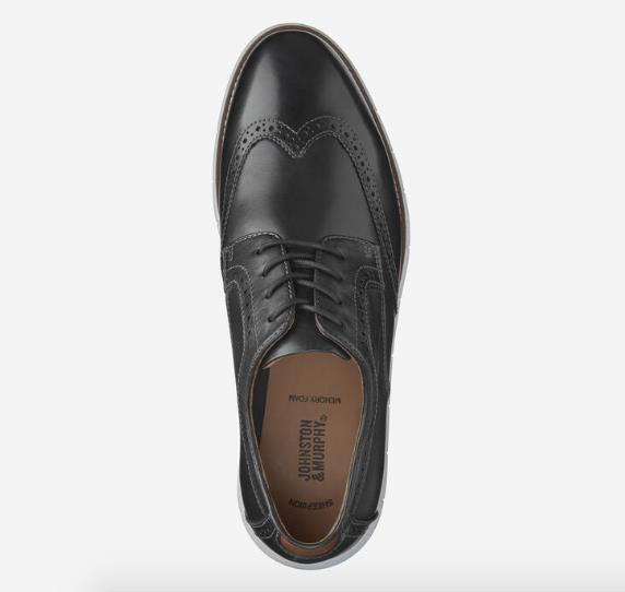 JOHNSTON & MURPHY HOLDEN WINGTIP BLACK TOP