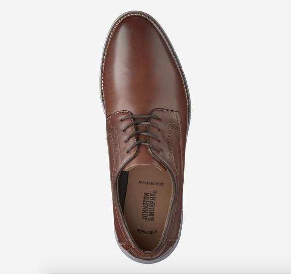 JOHNSTON & MURPHY HOLDEN PLAIN TOE BROWN TOP